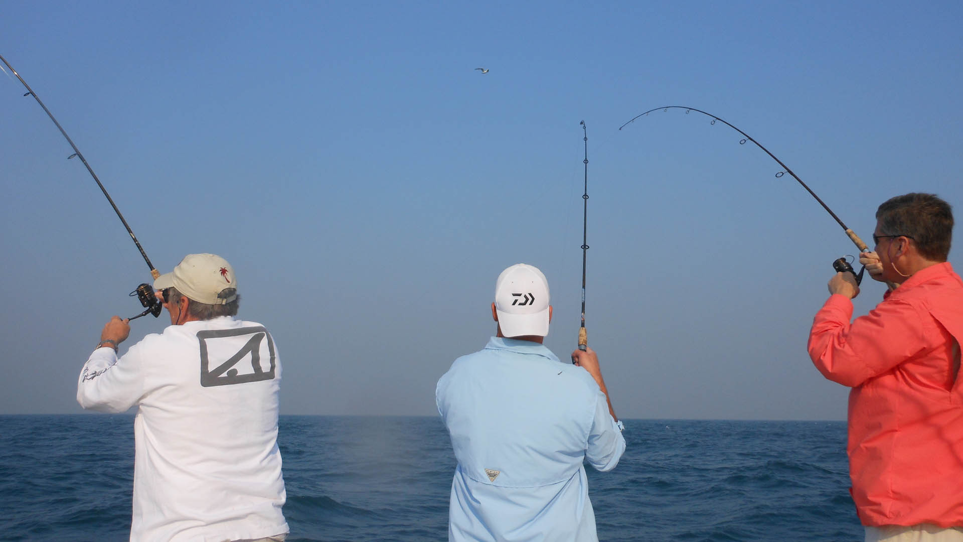 Three men deep sea tournament fishing in St. Petersburg, FL.