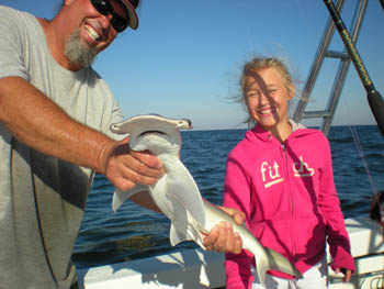Young girl caught Hammerhead Shark offshore St. Petersburg, FL.